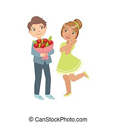 Boy Giving Flower Bouquet To A Girl