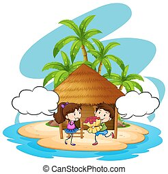 Boy giving flowers to girlfriend on island illustration