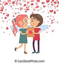Boy Giving Present Girlfriend, Valentine Vector
