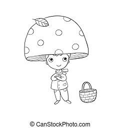 Boy gnome in mushroom cap.