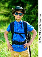 boy go hiking