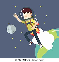 boy go into space with a jetpack