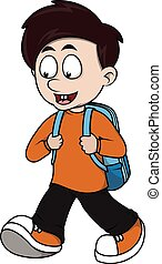 Boy go to school cartoon