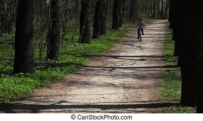 boy goes back on bicycle on forest road in spring
