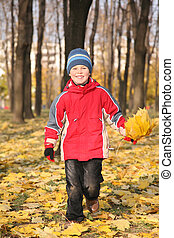 boy goes for a walk in the park in autumn with yellow leaves