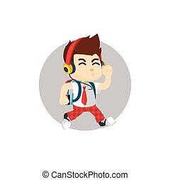 boy going to school hearing music