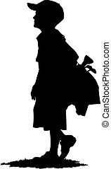 Boy Golfer with Golf Bag Silhouette - Young boy golfer...