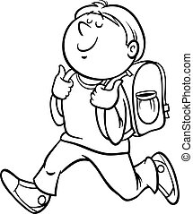 boy grade student coloring page - Black and White Cartoon...