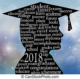 boy graduate with cap for 2018 - male side profile ...