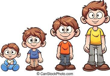 Boy growing up - Cartoon boy growing up. Vector clip art...