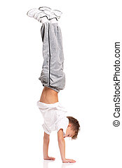 Boy gymnastic - Happy little boy gymnastic acrobatics...