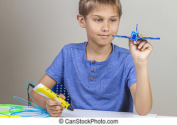 Boy hands creating with 3d printing pen blue plane