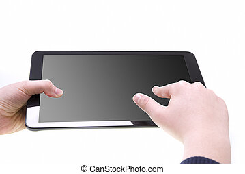 Boy hands with tablet