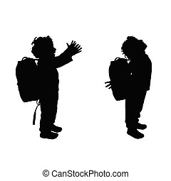 boy happy silhouette illustration in black color