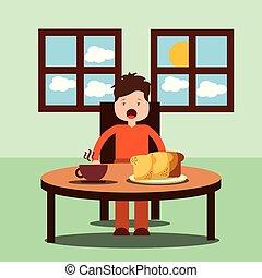 boy happy to eat breakfast in the morning