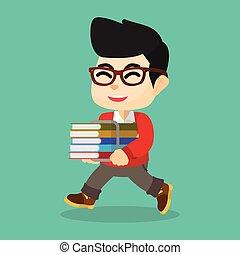 Boy happy with books