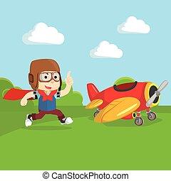 Boy happy with Plane toy