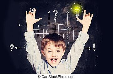 Boy has an idea. Concept with question signs and light idea bulb