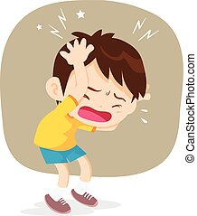 boy have headache pain cartoon vector illustrator.