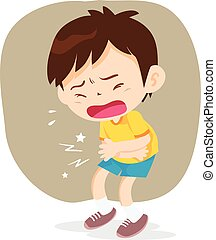 boy have stomach ache - Boy having stomach ache, cartoon...