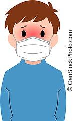 Boy having fever symptoms.