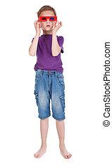 boy having fun wearing 3D glasses