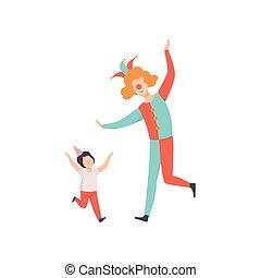 Boy having fun with clown, kid celebrating birthday vector Illustration on a white background