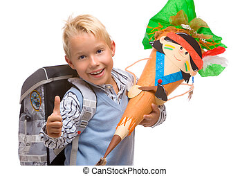 Boy having his first schoolday is expressing positivity by showing thumb up
