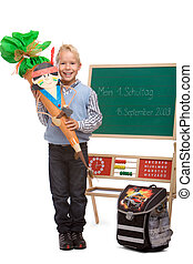 Boy having his first schoolday