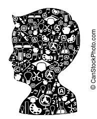 boy head full of creative ideas