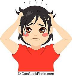 Boy Head Lice - Little boy kid crying itchy hair with head...