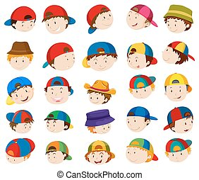 Boy heads with facial expressions illustration