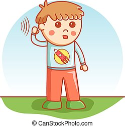 boy hearing doodle cartoon vector