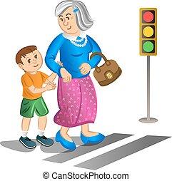 Boy helping old lady cross street - Boy helping old lady...