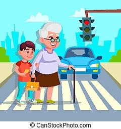 Boy Helping Senior Woman Crossing Street Vector Drawing
