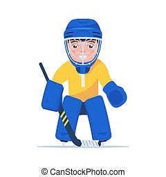 Boy hockey player is standing in goalie uniform