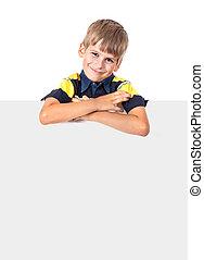 Boy holding a banner