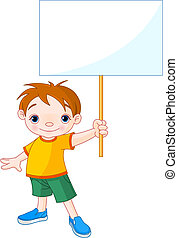 Boy holding a blank sign for your - Cute boy holding a blank...