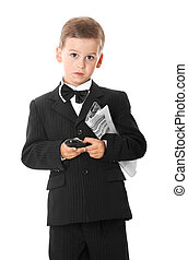 Boy holding a cellphone and newspaper