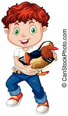 Boy holding a cute duck