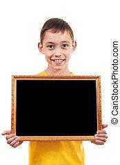 boy holding a frame