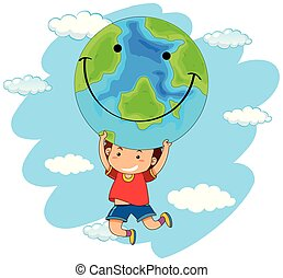 Boy holding a globe of the earth