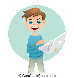 Boy holding a laptop - A vector illustration of cute boy ...