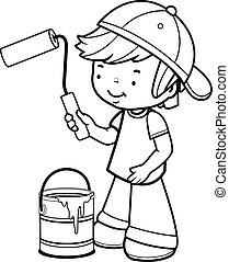 Boy holding a paint roller and bucket. Black and white coloring book page