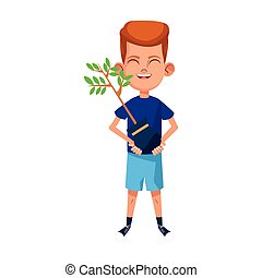 boy holding a plant icon, colorful design