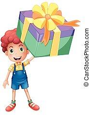 Boy holding box of present