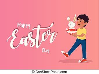 Boy Holding Bunny Easter Egg.
