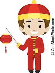 Boy holding Chinese Lantern