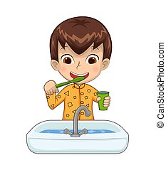 Boy Holding Cup Above Basin Vector Illustration