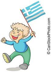 Boy holding flag of Greece